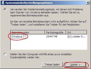 Betriebssystemauswahl Systemwiederherstellungsoptionen