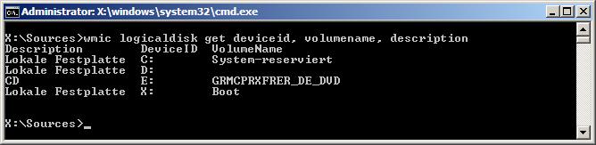 Laufwerkauflistung Windows Kommandozeile